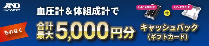 お客様大感謝キャンペーン 血圧計&体組成計でもれなく合計最大5,000円分キャッシュバック