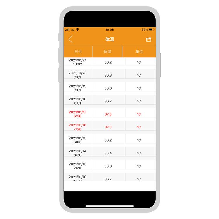 スマートフォン対応予測式体温計 UT-201BLE Plus 画像