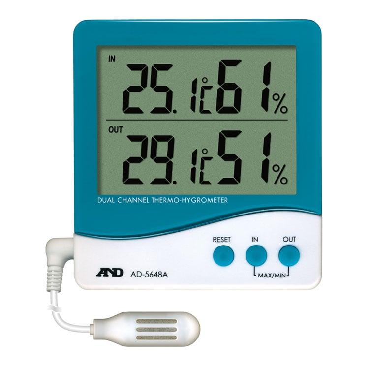 外部センサー付き温湿度計 AD-5648A(デュアルチャンネル)