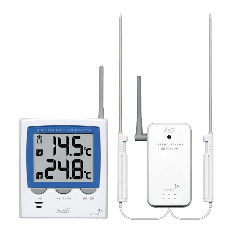 ワイヤレスマルチチャンネル温湿度計 AD-5662TT / AD-5662HT