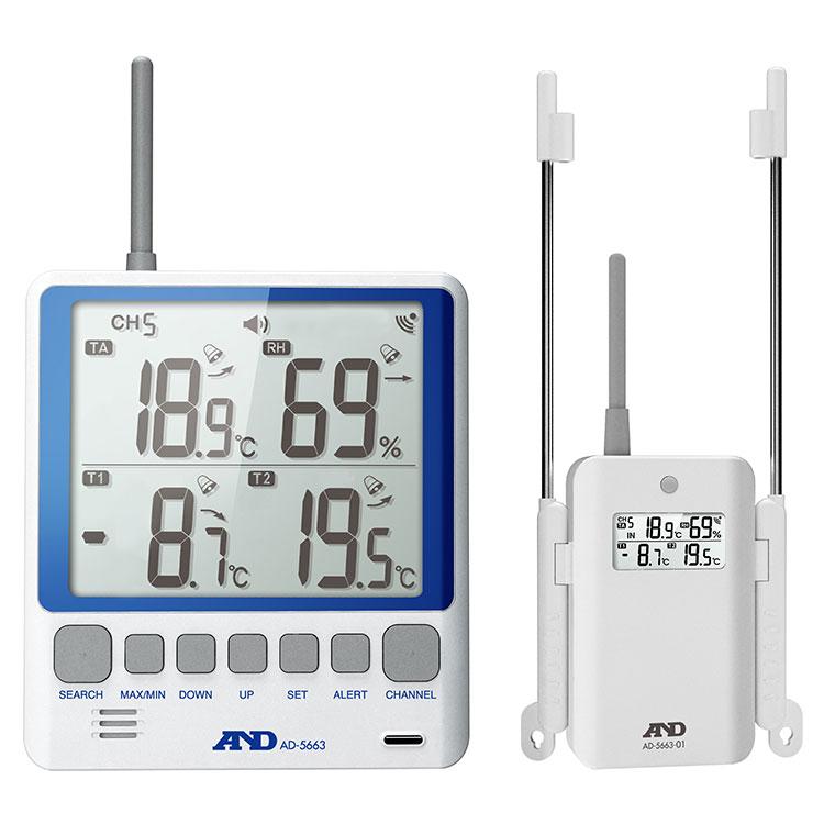 ワイヤレスマルチチャンネル温湿度計 AD-5663