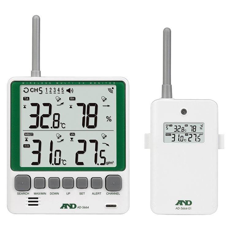 マルチチャンネルワイヤレス環境温湿度計 AD-5664SET
