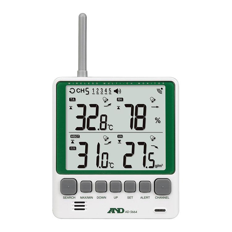 マルチチャンネルワイヤレス環境温湿度計 AD-5664SET 画像