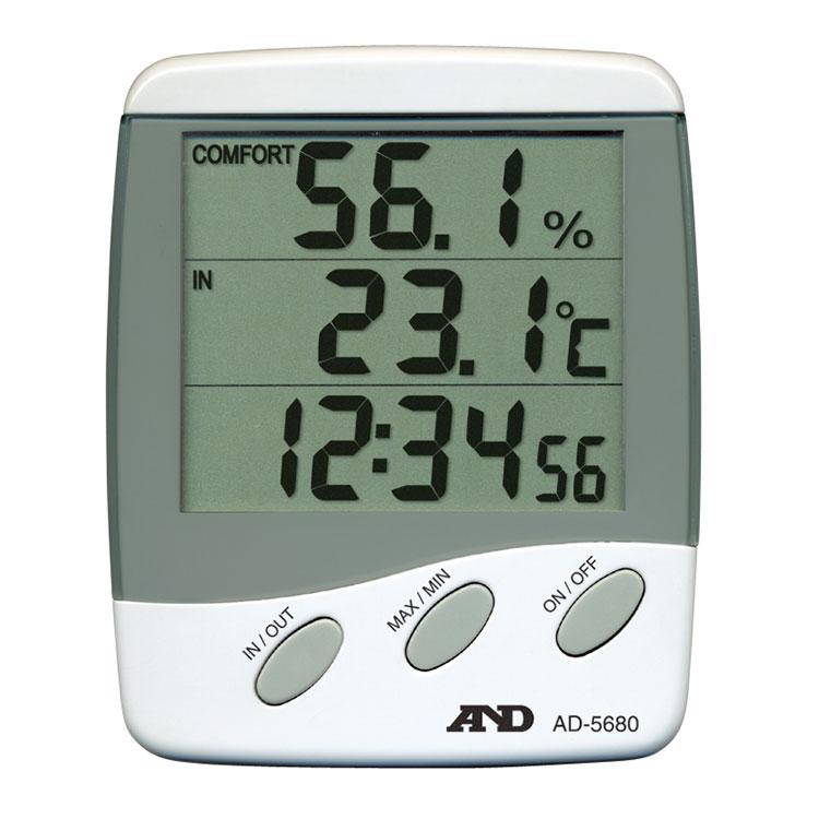 外部センサー付き温湿度計 AD-5680 (時計付き)