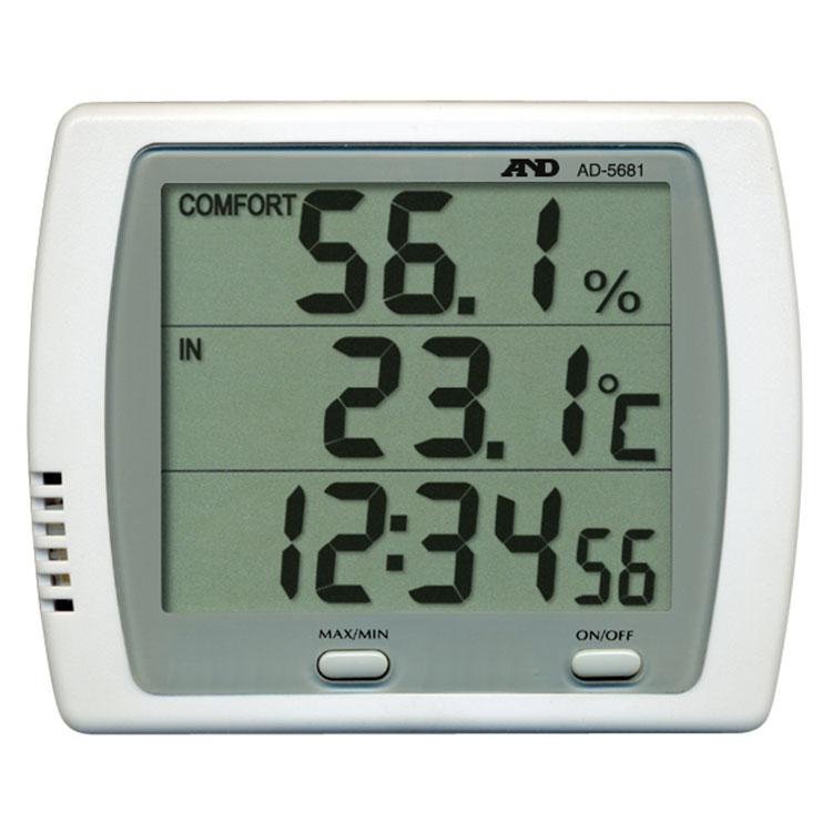 時計機能付き温湿度計 AD-5681