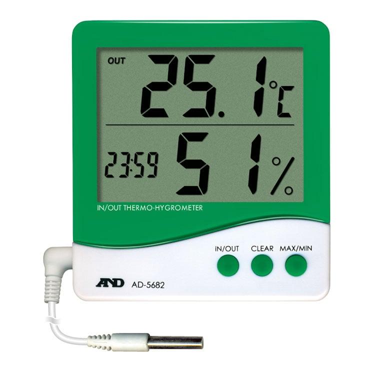 外部センサー付き温湿度計 AD-5682 (時計付き)