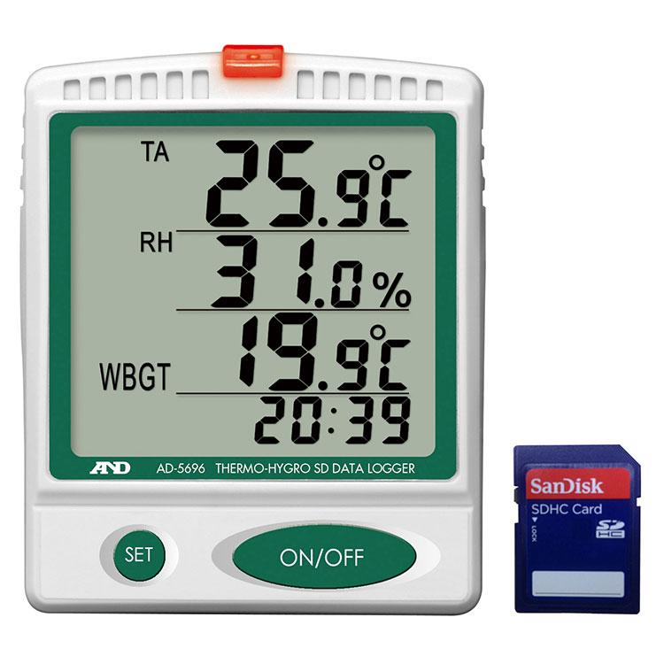温湿度SDデータロガー(記録計) 熱中症指数計 / 熱中症指数モニター AD-5696